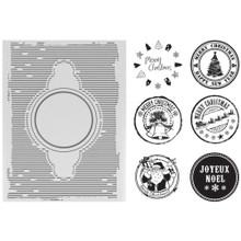 Ultimate Crafts Embossing Folder and Stamp Set -- A2 Joyeux Noel ULT157675