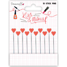 Dovecraft Stick Pins Red Pearl Hearts 10-pc