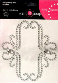 Want 2 Scrap Say it With Bling Diamond Rhinestone Self-Adhesive Bracket By Nina Brackett-Bella Embellishments