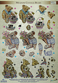 Dufex 3-D Papier Tole Meadow Cottage Bears Die-Cut Paper Decoupage