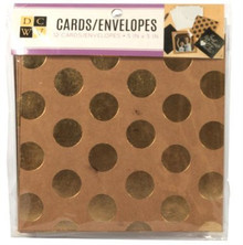 DCWV 5x5 Foiled and Glittered Cards and Envelopes 12-Sets in Kraft and Black