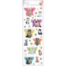 Sandylion Kittens Glitter Stickers, 4 by 12-Inch, Clear