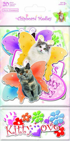 Sandylion Kimberlin Kittens Chipboard Medley Stickers with Clear Varnish