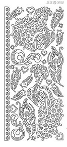 Ecstasy Crafts Peel-Off Stickers Peacocks Black 376213
