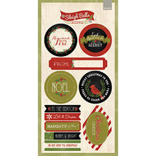 My Minds Eye Sleigh Bells Ring Cardstock Stickers 6'X12'-Labels