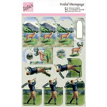 DoCrafts Anita's A4 Foiled Decoupage Sheet-Highland Golf 169640