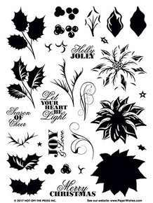 HOTP Clear Stamps - Layering Poinsettia & Holly - Silicone Stamps HOTP1233