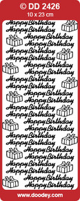 Doodey DD2426 Happy Birthday and Gifts SILVER Peel Stickers One 9x4 Sheet