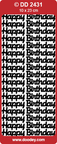 Doodey DD2431 Happy Birthday -  LARGE BLACK Peel Stickers One 9x4 Sheet