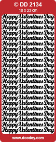 Doodey DD2134 Happy Valentine's Day -  Silver Peel Stickers One 9x4 Sheet