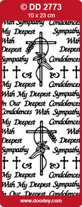 DOODEY DD2773 BLACK Sympathy Peel Stickers One 9x4 Sheet