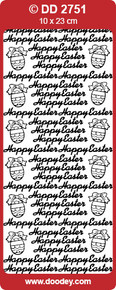 DOODEY DD2751 MULTI  HAPPY EASTER Text Stickers Peel Outline
