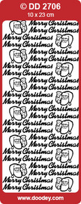 DOODEY DD2706 SILVER Christmas Text Stickers Peel Outline
