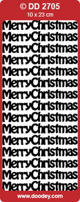 DOODEY DD2705 BLACK  Merry Christmas Text Stickers Peel Outline