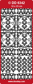 DOODEY DD6342 SILVER HEART Corners Peel Stickers One 9x4 Sheet