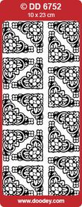 DOODEY DD6752 WHITE TUTOR Corners Large Peel Stickers One 9x4 Sheet