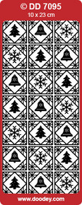 DOODEY DD7095 SILVER CHRISTMAS SQUARES Peel Stickers One 9x4 Sheet