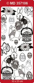 Doodey MD357106 GOLD Double Embossed Etched EASTER 2 Stickers One 9x4 Sheet