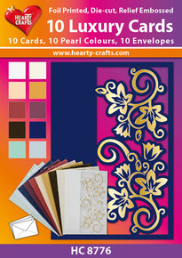 Hearty Craft 10 Luxury Cards - HC8776 Pearlized, Foiled, Die-Cut and Embossed
