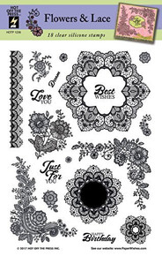 Hot Off The Press Flowers & Lace Silicone Stamp Set