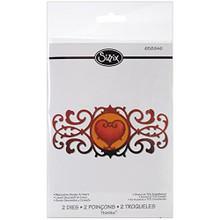 Sizzix Thinlits Die Set 2PK - Decorative Border & Heart by Jen Long 658946