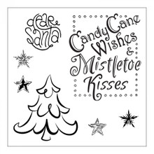 Sizzix 661550 Framelits Die Set with Stamps, Candy Cane Wishes by Lindsey Serata