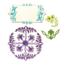 Sizzix Thinlits Dies 4/Pkg-Ornate Flowers & Tag