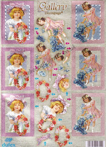 Dufex Victorian Girls With Flowers Die Cut 3-D Decoupage Sheet