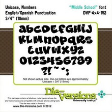 "Die-Versions DVF-4X4-152 MIDDLE SCHOOL FONT 3/4"" (19MM) UNICASE NUMBERS PUNCTUATION Cutting Die"