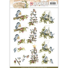 Precious Marieke The Nature of Christmas - Christmas Birds - 3D Push Out Toppers SB10182