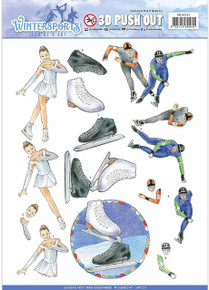 Jeanine's Art Wintersport Punchout Sheet-Ice Skating