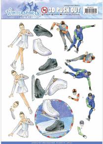 Jeanine's Art Wintersport Punchout Sheet-Ice Skating