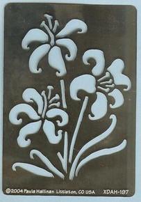 "large Lilies Metal Stencil XDAH-197  3.5 x  2.5"""