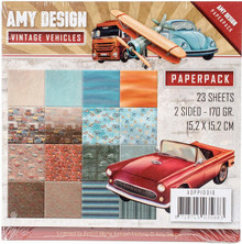 DPP10016 Amy Design Double-Sided Paper Pack 6'X6' 23/Pkg-Vintage Vehicles, 16 Double-Sided Design