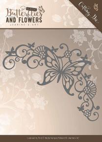 Jeanine's Art  Butterfly Corner Classic Flowers Die