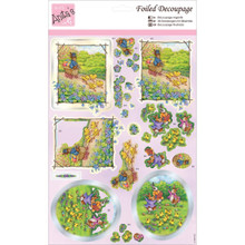 docrafts ANT169636 Anita's A4 Foiled Decoupage Sheet, Rabbit Frolics, Multicolor