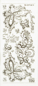 HOTP Silver Engraved Lace Butterfly Dazzles 2614