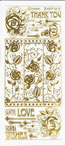 HOTP Gold Engraved Roses Dazzles Stickers 2613