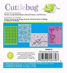 Cuttlebug Winter Bundle Embossing Folder Set Tartan Large Snowflakes Cardinal...