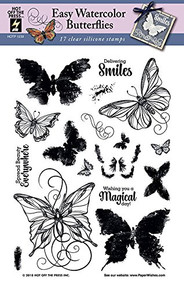 Hot Off The Press HOTP Clear Stamps - Easy Watercolor Butterflies - Silicone Stamps HOTP1239
