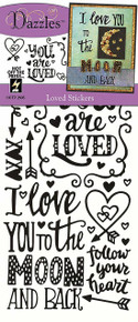 Hot Off The Press Loved, Black & Clear Foil Dazzles Stickers