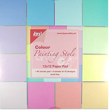Joy! Crafts 12x12-inch Colour Painting Style Paper Pad 48 light Cardstock Sheets