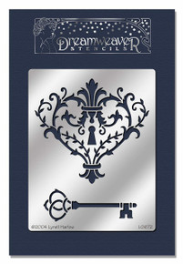 Stampendous Dreamweaver Metal Stencil, Heart and Key  Background
