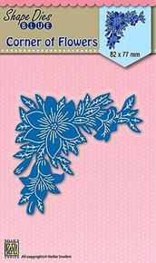 Nellie's Shape Dies Blue- Corner of Flowers - Cutting Die SDB035