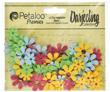 Petaloo Flora Doodles Mini Jeweled Florettes 80/Pkg, FU/GR/BL/OR