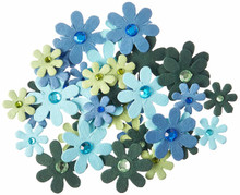 Petaloo Flora Doodles Jeweled Florettes 80/Pkg-Light Blue/Dark Blue/Chartreuse/Green
