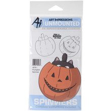 Art Impressions 4676 Spinners Cling Rubber Stamp, Pumpkin - 7 x 4 in.