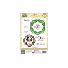 JustRite Stampers Cling Stamp Set-Christmas Labels Twenty Two 8pc