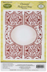 Justrite Papercraft Ornamental Cling Background Stamp, 4.5 by 5.75'