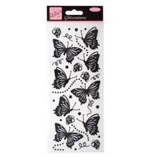 Docrafts glitterations - butterflies - black